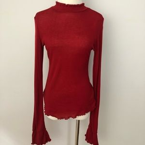Free People Out of Sight Mock Neck Turtleneck Top
